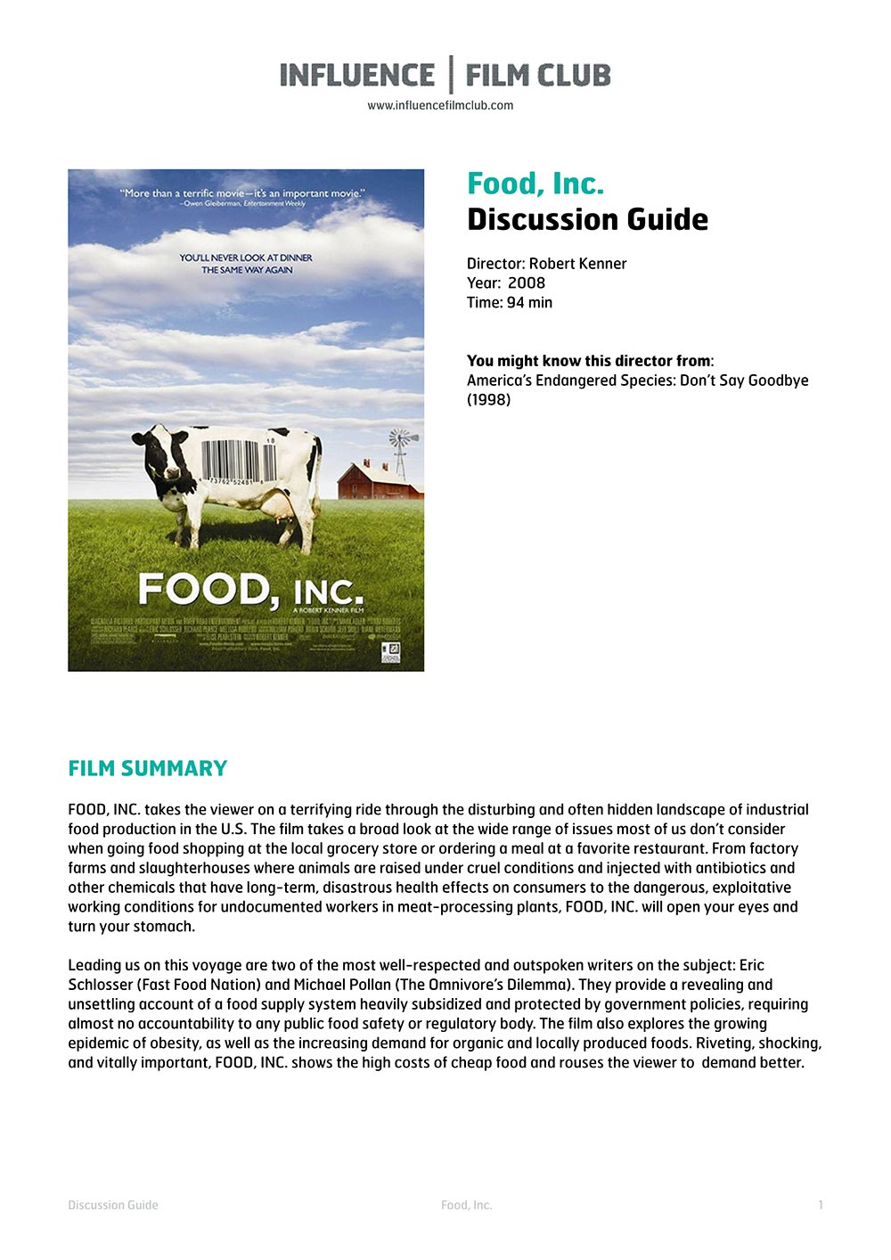 Food, Inc. | Influence Film Club
