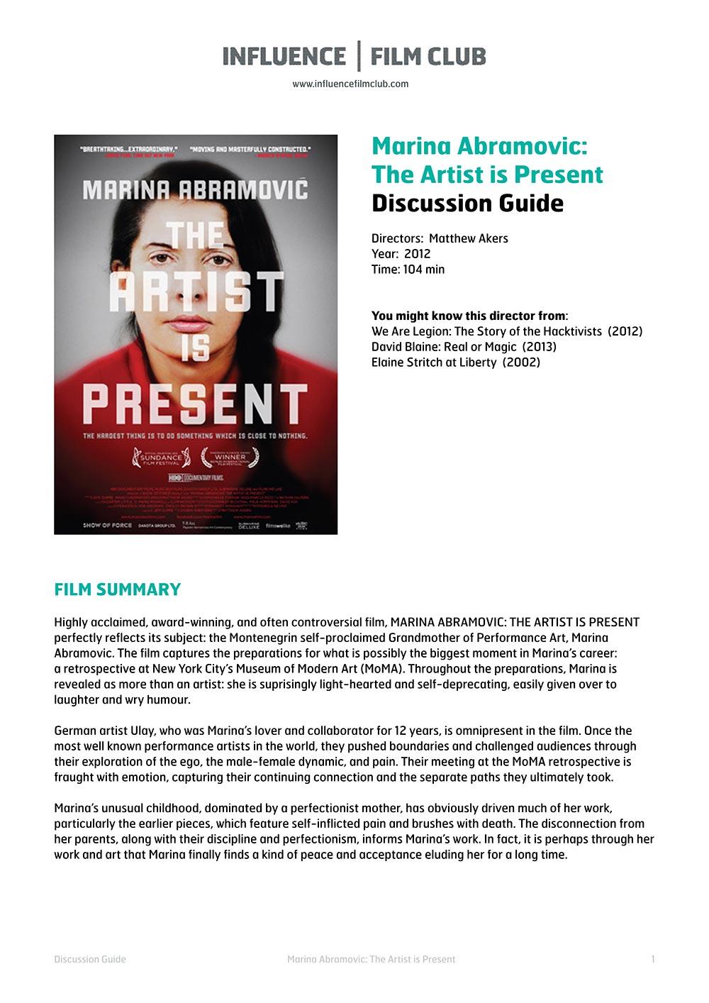 Download Film Marina Abramovic Artist Present 2012